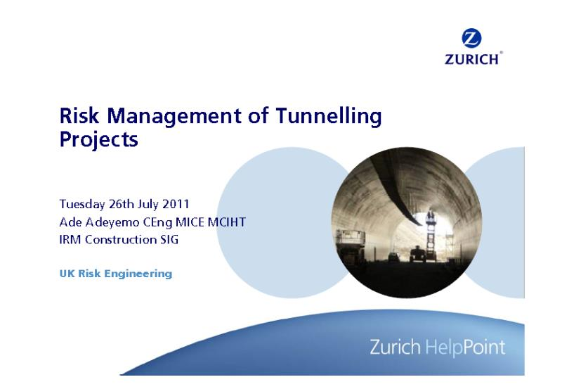 Risk Management of Tunnelling Projects - A. Adeyemo (IRM, 2011)